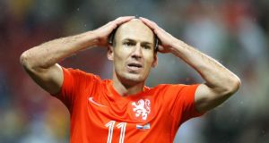 Arjen Robben of the Netherlands reacts after a missed chance against Argentina at Corinthians Arena in  Sao Paulo, Brazil. Photograph:   Dean Mouhtaropoulos/Getty Images
