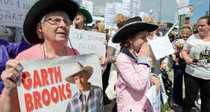 Marie Gorman (on left) ,Ballybough, along with local residents protesting against the cancellation of any of the Garth Brooks Croke Park concerts at Ballybough, Dublin. Photograph: Eric Luke/The Irish Times