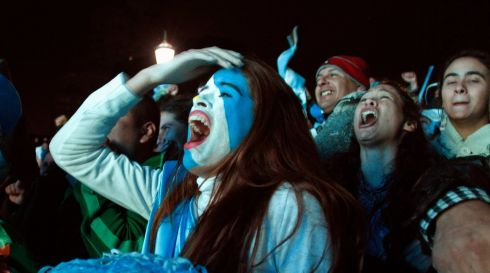 Facepaint, anyone? The reaction in Buenos Aires, Argentina.  Photograph: Martin Acosta/Reuters