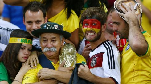 We're all friends here: a German amid the Brazilians in the crowd at the Belo Horizonte faceoff. Photograph: Michael Steele/Getty Images