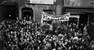 'Economic dictator': Seán Lemass, above, addressing a crowd in Dublin in 1943, probably had more control over the economy during the Emergency than when he became taoiseach. Photograph: Haywood Magee/Getty Images