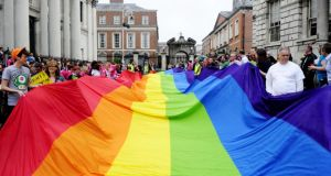 An LGBT march for equality through the streets of Dublin. Photograph: Aidan Crawley