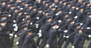 Gardai during their graduation ceremony at the Garda College,Templemore. There is no sign of the promised new recruits entering the Garda College   this summer. About 300 will be needed to simply maintain numbers at their current levels. Photograph: Brenda Fitzsimons/Irish Times