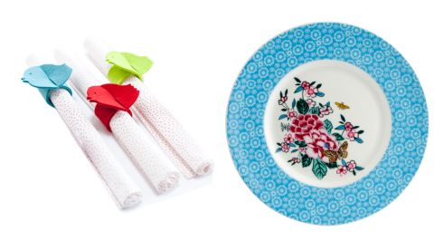 100% wool felt napkin ring set, set of 6 €28.95, Green Gorgeous at The Design House Porcelain floral plate, €12.95, Ulster Weavers at Clerys