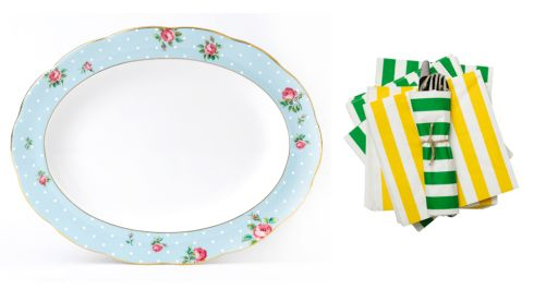 Matta napkins, €2 for 30 pack, IKEA Polka Blue Vintage Oval Platter,  €63.95, Royal Albert at Arnotts