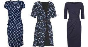 Navy and white spot dress, €79.95, Zapara at Pamela Scott. Black and navy wrap dress, €1,150, Proenza Schouler at Brown Thomas. Navy jersey dress, €175, Max Mara Weekend at Brown Thomas