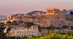 The Acropolis in  Athens, Greece. Train services have resumed in the country for the first time since February 2011