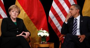 Intelligence gathering: German chancellor Angela Merkel with US president Barack Obama. Photograph: Jim Young/REUTERS