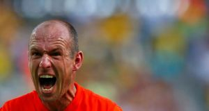 Arjen Robben of the Netherlands celebrates after winning their 2014 World Cup round of 16 game against Mexico at the Castelao arena in Fortaleza. Photograph: Eddie Keogh/Reuters