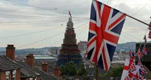 Preparing for the Twelfth. The bonfire is ready to be lit and the middle class has left town. Photograph: Reuters