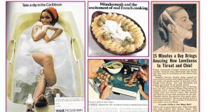 Clockwise from main, the Caribbean bath ad (1973); an ad for Wondermash, a kind of piped concentrated mashed potato, from the same magazine; an ad for a Chin Strap (1948); and an ad for a Formica kitchen (1965)