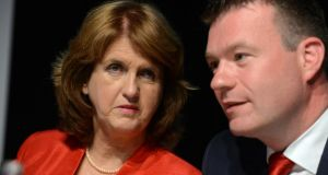 Labour leader Joan Burton, with her deputy, the new Minister for the Environment, Alan Kelly: tackling the housing issue is a pressing political imperative. Photograph: Cyril Byrne