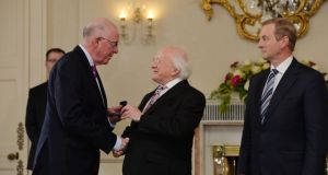 Charlie Flanagan, receiving the seal of office for the Department of Foreign Affairs  yesterday. Photograph: Alan Betson / The Irish Times