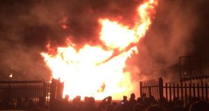 Crowds look on as the Lanark Way bonfire burns. Photograph: Dan Griffin/The Irish Times
