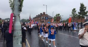 An Orange Order march on the loyalist Crumlin Road in Belfast this morning. Photograph: Gerry Moriarty/The Irish Times