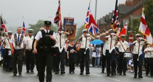 An Orange Order parade on Crumlin Road this morning. Photograph: Brian Lawless/PA Wire