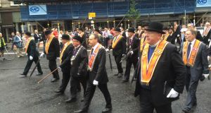 Orangemen marching in the Twelfth of July celebrations in Belfast. Photograph: Dan Griffin/The Irish Times