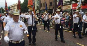 Marchers taking part in the Twelfth of July celebrations in Belfast. Photograph: Dan Griffin/The Irish Times