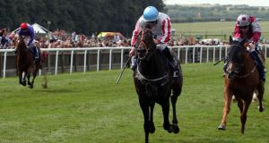 Slade Power ridden by Wayne Lordan wins the Darley July Cup  at Newmarket. Photograph: Steve Parsons/PA