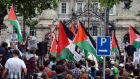 About 3,000 people protested in Dublin today against Israel's continued bombardment of Gaza, as demonstrations also took place in Cork, Limerick, Galway, and, Derry.  Photograph: Cyril Byrne/The Irish Times