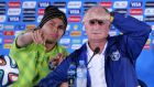 Brazil captain Thiago Silva (left) and  coach Luiz Felipe Scolari (right)  during a press conference at Estadio National in Brasilia. Photograph: Robert Ghement / EPA