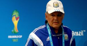 Alejandro Sabella of Argentina talks to the media during a press conference at Rio's Maracana Stadium. Photograph:   Clive Rose/Getty Images