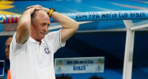 Brazil's coach Luiz Felipe Scolari during the 3-0 defeat to the Netherlands in the 2014 World Cup third-place play-off at the Brasilia National Stadium. Photograph: Ueslei Marcelino / Reuters