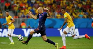 Arjen Robben of the Netherlands in action against Brazil during the   World Cup third-place play-off  in Brasilia. Photograph:  Jorge Silva/Reuters