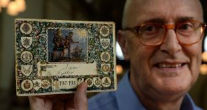 Victor Edmonds with a Christmas card sent home by his grandfather Samuel Edmonds during the World War I Roadshow in Dublin on Saturday. Photograph: Cyril Byrne.