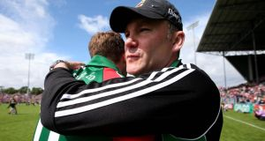 Delighted Mayo manager James Horan with Aidan O'Shea at the end of the Connacht SFC  final against Galway  at MacHale Park in Castlebar. Photograph: Donall Farmer/Inpho