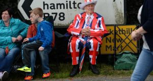 Roy Richardson, from Portadown, dressed up for the Twelfth of July demonstration in Markethill, Co Armagh, on Saturday. Photograph: Dara Mac Dónaill