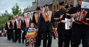 The Twelfth of July demonstration in Markethill, Co Armagh, on Saturday. Photograph: Dara Mac Dónaill