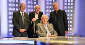 We'll Leave It There So – broadcasting legend Bill O'Herlihy – with the panel of John Giles, Eamon Dunphy and Liam Brady – ahead of the World Cup Final as he prepared for his final broadcast for for RTÉ Television. Photo: Steve Langan/Inpho