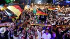 Germany supporters celebrate their World Cup Final victory over Argentina in Berlin. Photograph: Fabian Bimmer/Reuters