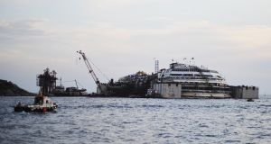 The wrecked ship Costa Concordia during the refloating operations in Isola del Giglio, Italy today. Photograph: Laura Lezza/Getty Images
