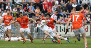 Armagh's reward for knocking out Tyrone on Sunday is a trip to play Roscommon in Round 3B of the football qualifiers. Photograph: Andrew Paton/Inpho/Presseye