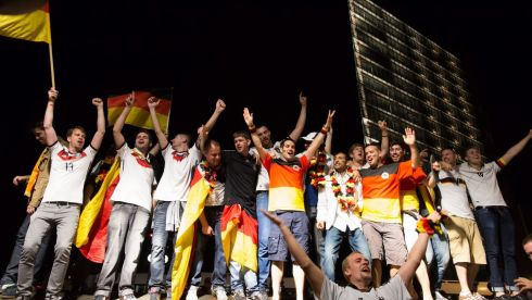 Germany soccer fans celebrate on Potsdamer Platz in Berlin, Germany, after Germany's victory over Argentina in the World Cup final. Photograph: Maja Hitij/EPA