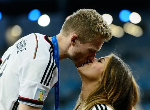 Andre Schuerrle of Germany celebrates with girlfriend Montana Yorke after defeating Argentina 1-0 in extra time during the 2014 FIFA World Cup Brazil Final. Photograph: Matthias Hangst/Getty Images