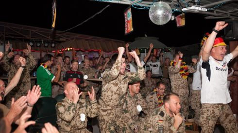 German soldiers celebrate after watching the final match of the FIFA World Cup Brazil at their base, Camp Marmul, in Mazar-e-sharif , Afghanistan. Photograph: NATO/ISAF/EPA