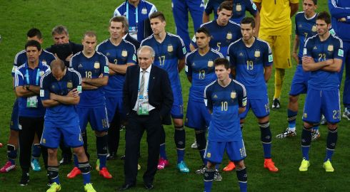 Head coach Alejandro Sabella of Argentina looks on with his team after being defeated by Germany 1-0 during the 2014 FIFA World Cup Brazil Final match at Maracana in Rio de Janeiro. Photograph: Michael Steele/Getty Images
