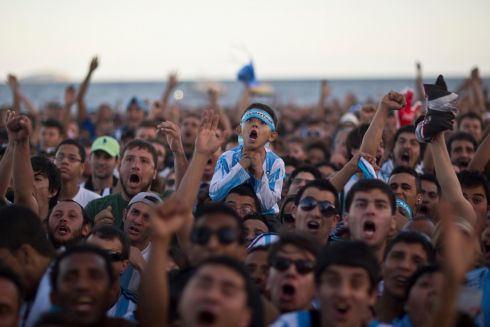 Argentina fans react while watching the World Cup final on Copacabana beach in Rio de Janeiro, Brazil. Photograph: Dado Galdieri/Bloomberg