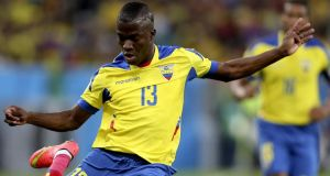 Ecuador striker  Enner Valencia is undegoing a medical at West Ham. Photograph:  Antonio Lacerda/EPA