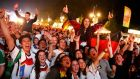 Fans celebrate at a public screening of the World Cup final in Berlin. Photograph: Reuters