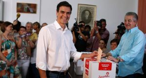 Pedro Sánchez: won 49 per cent of the votes cast by 130,000 party members in the Spanish Socialist Party leadership contest. Photograph: Reuters/Javier Barbancho