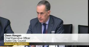 Screengrab of Owen Keegan giving evidence to the joint transport and communications committee today.