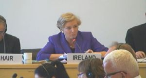 Minister for Justice Frances Fitzgerald before the committee this morning.