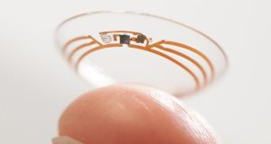 Undated handout photo issued by Google of a Google smart contact lens that can monitor the glucose levels in the eye is a step closer to reality as the company has announced a partnership with Swiss pharmaceutical company Novartis to develop it. Photograph: Skyscanner/PA
