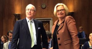 Kevin O'Malley, Missouri lawyer, nominee for US ambassador to Ireland, with Missouri senator Claire McCaskill at the Senate Foreign Relations Committee in the US today. Photograph: Simon Carswell/The Irish Times