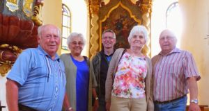 Helmut, Else Sandner, Thomas and Meta Tauer and Franz Sandner in the restored Sudetenland church where Helmut and Franz were baptised. Photograph: Derek Scally