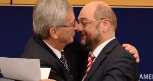 European Parliament president Martin Schulz congratulates Jean-Claude Juncker after his election as president of the European Commission. Photograph: Patrick Seeger/EPA